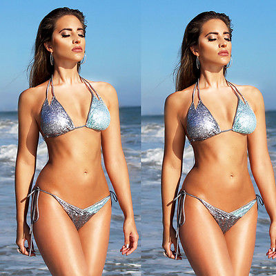 Women Bikini Set Bandage Push Up Padded Bra Swimwear Silver Sequins Swimsuit Bathing Summer Beachwear sexy s xl women activing swimwear bikini set push up padded bra swimsuit summer beachwear m30x15