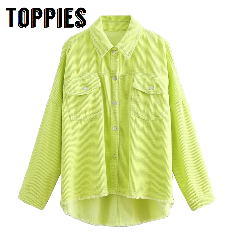 2020 Spring Women Green Color Corduroy Jacket Loose Single Breasted Coat Fashion Button Down Tassel Jacket