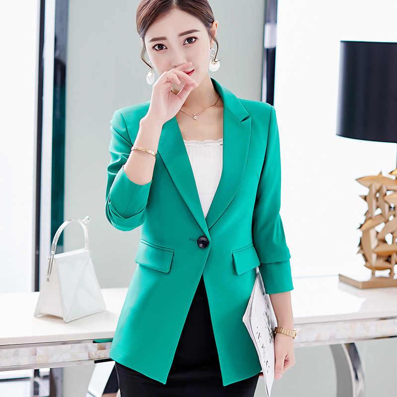 c8094f920ed 2018 осень-зима куртки Новые Модные Офисные тонкие с длинным рукавом  костюмы женские блейзеры Повседневные