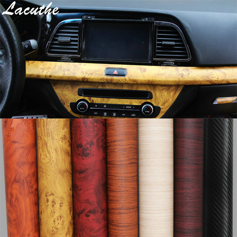 120*30cm Self adhesive Vinyl Wood Grain Textured Car Wrap Car Internal Stickers Wallpaper Furniture Wood Grain Paper Film-in Car Stickers from Automobiles & Motorcycles