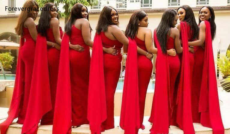 2019 Red Bridesmaid Dresses One Shoulder Summer Country Garden Wedding Party Guest Maid Of Honor Gowns Plus Size Custom Made Aliexpress,Cocktail Dress For Winter Wedding