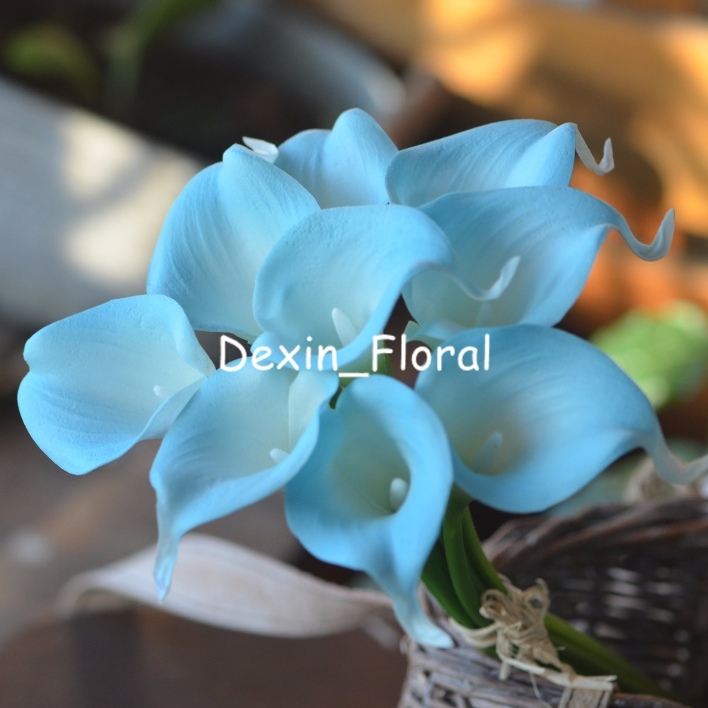 Misty Turquoise Calla Lilies Real Touch Flowers For Silk Wedding