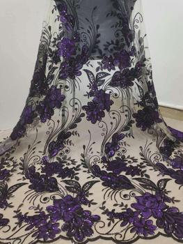 New Fashion African Fabric Lace French Sequin Lace Fabrics For Nigeria Evening Dress High Quality Organza Lace Fabric (