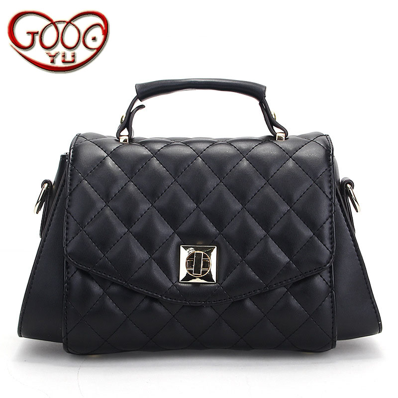 Women's new wild leather lock handbag cross section square temperament Ling grid shoulder diagonal package