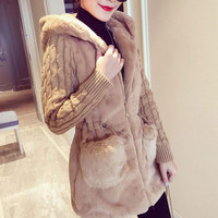 HEE GRAND Faux Fur Coat Women 2018 Winter Plus Size S 4XL Hooded Outwear Patchwork Thick Warm Luxury Knitted Coats WWC159