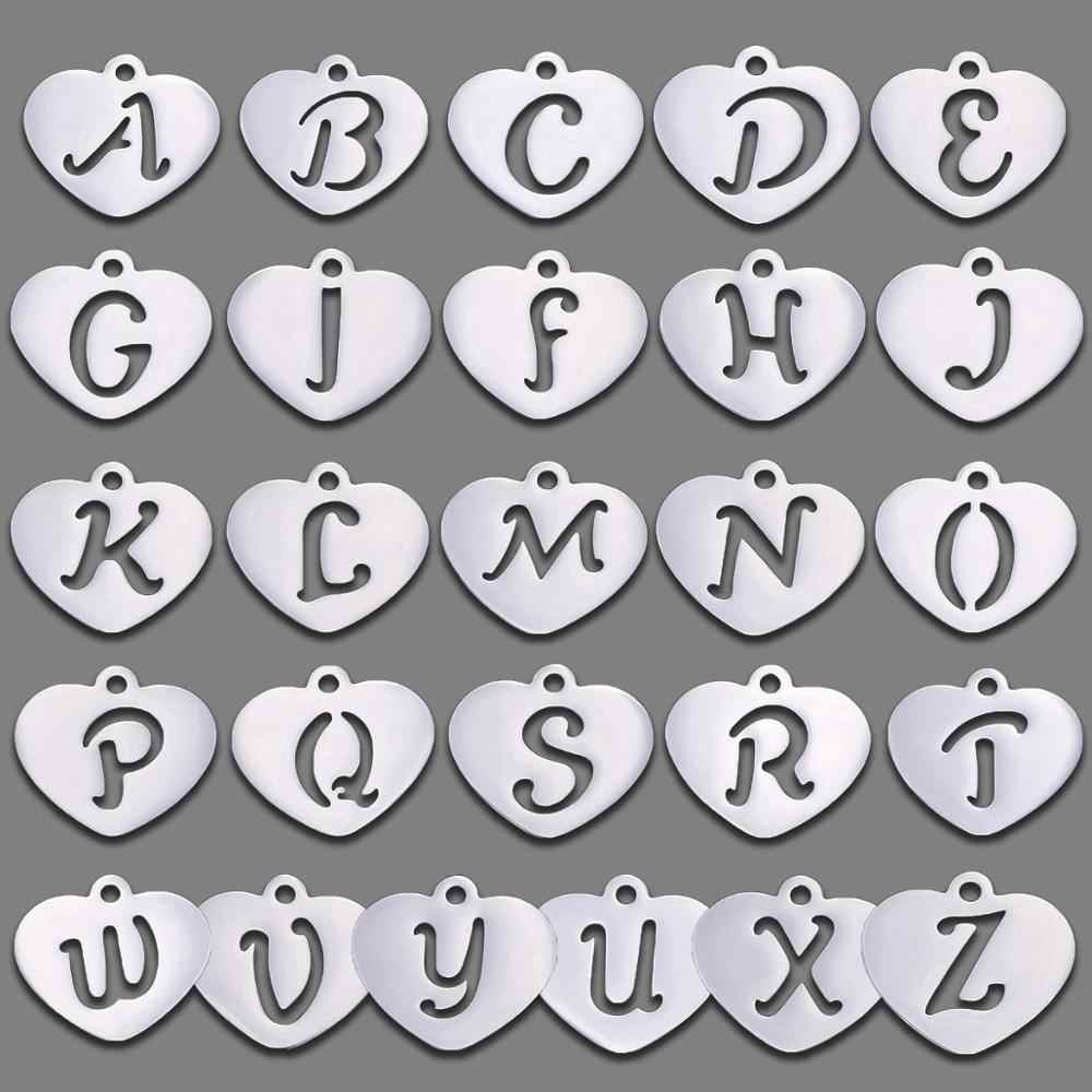 26 A-Z English Alphabet Heart Shape Titanium Steel Pendant Finding for DIY Necklace Bracelet Making Jewelry Handmade Accessories