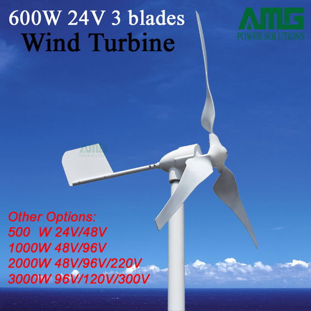 Advanced 600W 24V 3 Blades Horizontal Small Wind Turbine Generator For  Garden/rooftop/