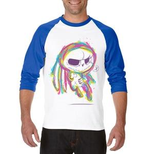 Лидер продаж, Мужская футболка, одежда, три четверти, рукав реглан, мужские топы, футболки с рисунком черепа, Хлопковая мужская футболка, бесплатная доставка
