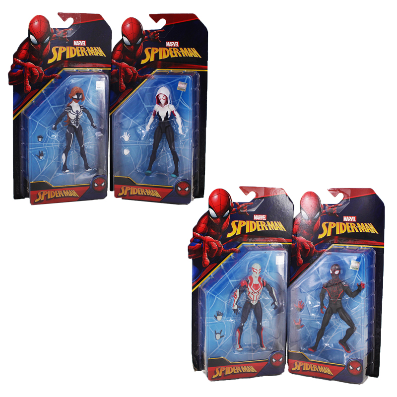 Spiderman Action Figures Spider Woman Gwen Stacy Venom The Black Spider-man Miles Morales Model Toys For Kids