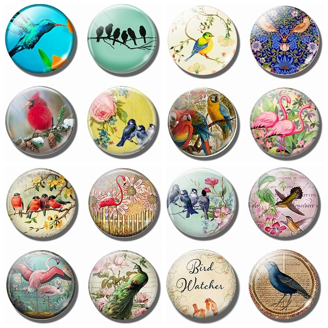Blue Birds on A Branch 30MM Fridge Magnet Pink Flowers Glass Cabochon Magnetic Refrigerator Stickers Note Holder Home Decoration 2