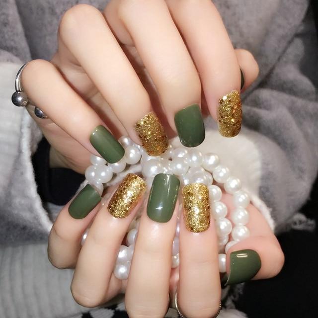 Uv Style Press On Nails Gold Glitter Acrylic Full Cover False Green Artificial 24pcs