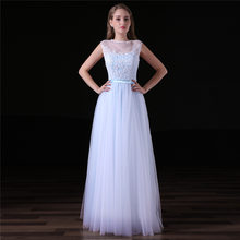 2018 New Simple Long Bridemsaid Dress Lace Top Tulle Skirt Formal Country Western  Wedding Party Dresses 4eebeca493d2