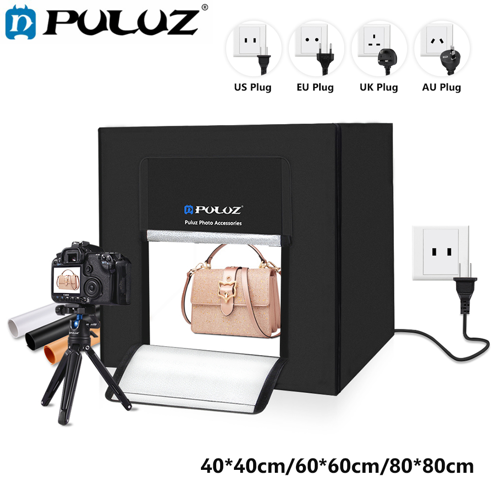 PULUZ 40*40/60*60/80*80 cm Mini Photographie Studio Nylon Tissu Soft Box haute Brillant Photo Studio Éclairage Tente AU/UK/US/EU Type