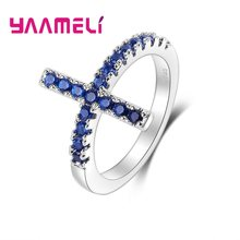 Cheap Sale Blue Cubic Zirconia Rings For Women Gifts Trendy 925 Sterling Silver Ring Wedding Engagement Jewelry Bijoux(China)
