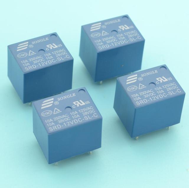 Шт. 4 шт. 10A 5 шпильки SONGLE SRD PCB мощность реле 5 шпильки реле 12 В в DC катушки мощность реле SRD-12VDC-SL-C тип в наличии