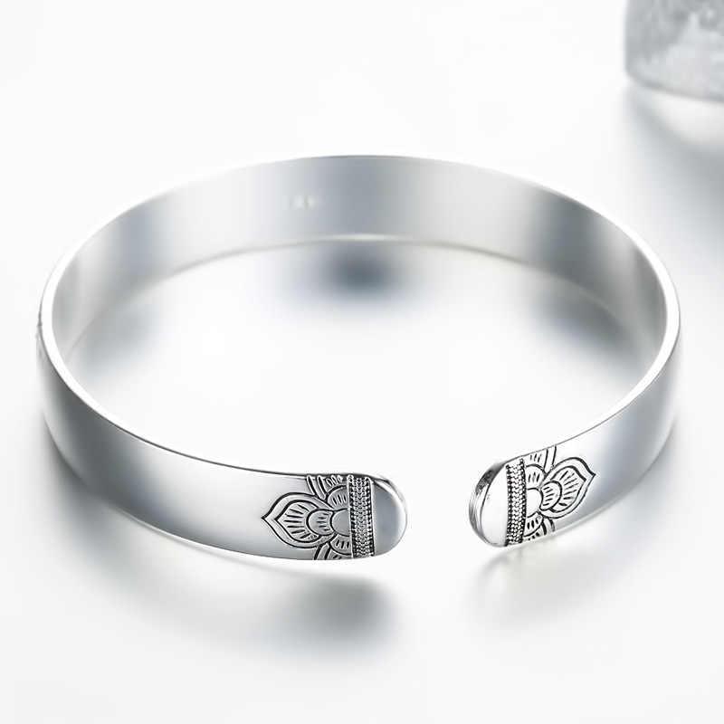 012ecb49936d ... Encantos de Tíbet indio pulsera de plata Floral Braslet mujer ajustable brazalete  abierto brazalete de Hombre