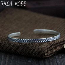 Fyla Mode New 999 Pure Silver Jewelry Bracelets For Women Leaf Carved Adjustable Fine Jewelry Wholesale Bracelets Bangles