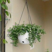 Panier suspendu en plastique support de pot de fleur avec chaîne plantes succulentes Vase forme ronde coloré jardinage en pot décoration de la maison