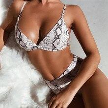 Женский сексуальный комплект бикини со змеиным принтом, высокая талия, бюстгальтер с вкладышами пуш ап, женский купальник, купальный костюм Buquini