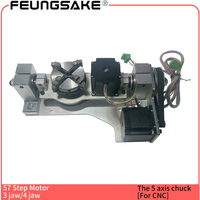 The five axis Rotary for cnc machine, 57 step motor 63mm chuck A aixs B axis rotation axis with table 5 axis cnc router rotating
