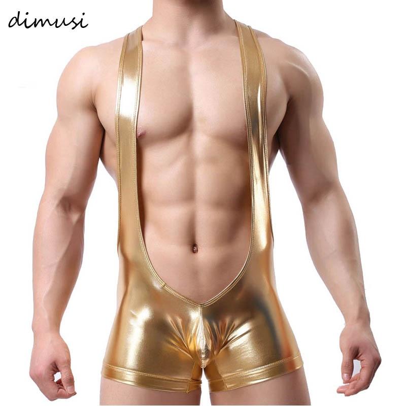 DIMUSI Men Sexy Boxer Shorts Male Lingerie Faux Leather Bodywear Wrestling Singlets Gay Siamese Boxers Underwear Men Bodysuits