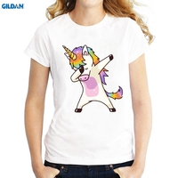 GILDAN New Summer Women Tops Unicorn Dabbing Dancing T Shirt For Women Funny T Shirt Female