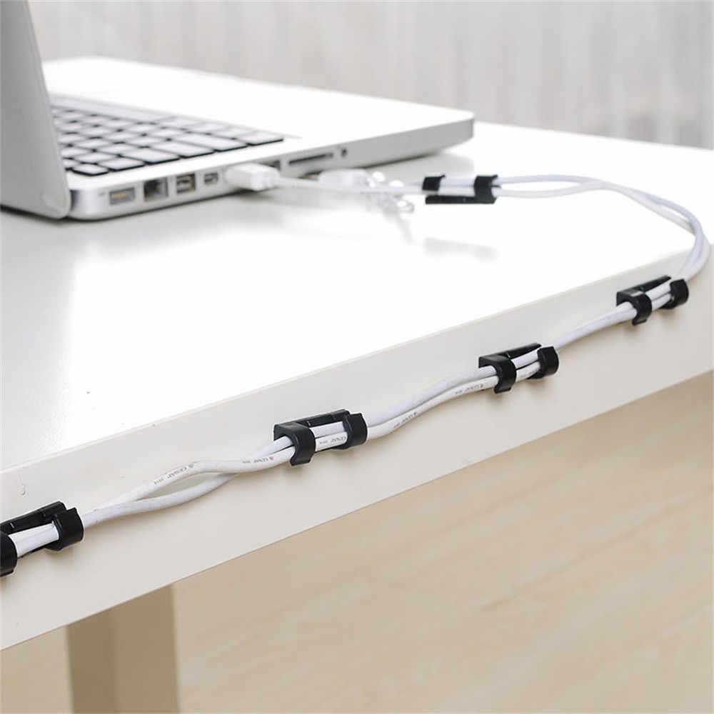 20 Stks/pak Zelfklevende Draad Organisator Lijn Kabel Clip Gesp Plastic Clips Ties Fixer Fastener Houder 3*1.1*1 Cm