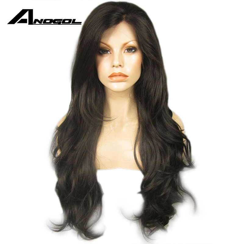 Anogol 150% Density Dark Brown Synthetic Lace Front Wigs Glueless Natural Long Body Wave Heat Resistant Fiber For Black Women