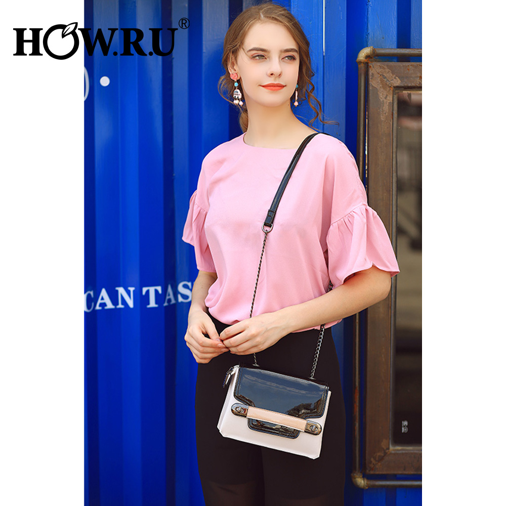 HOWRU Small Flap Bags For Women 2019 Luxury Handbags Women Bags Designer Patchwork PU Leather Chains Shoulder Messenger Bags     4