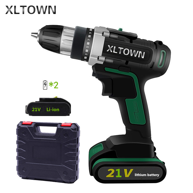 XLTOWN New 21V Cordless Electric Drill Lithium Battery Rechargeable Two-Speed Electric Screwdriver with 2battery Electric Drill xltown new 21v rechargeable lithium battery electric screwdriver with 2 battery high quality electric drill tools free shipping