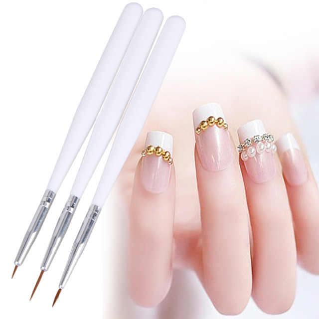 3pcs Line Scanning Nail Pens Drawing Painting Brush Tool Set Acrylic ...