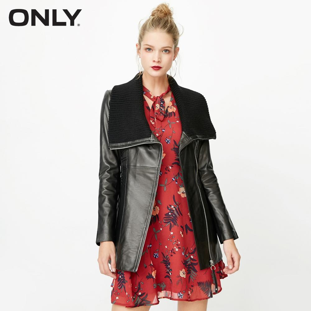 ONLY Women's Winter Lapel Waistband Slim Fit Sheepskin   Leather   Jacket |117310519