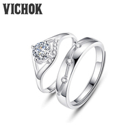 VICHOK Opening Design 925 Sterling Silver Platinum Plated Couple Ring For Women Men Anniversary Jewelry Gifts