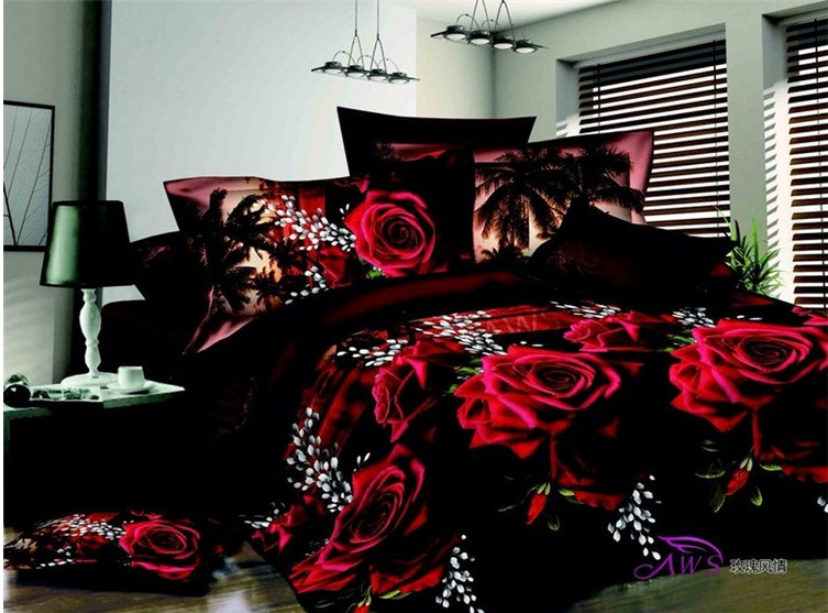3D Red Rose Duvet Cover Bedding Set Bedspread Sheets Queen Full Size Bed In A Bag Double