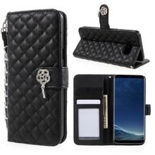 Для Galaxy S 8 чехол бумажник ромб узор кожаный бумажник Стенд телефон чехол с ремешком для Samsung Galaxy S8 G950-Black