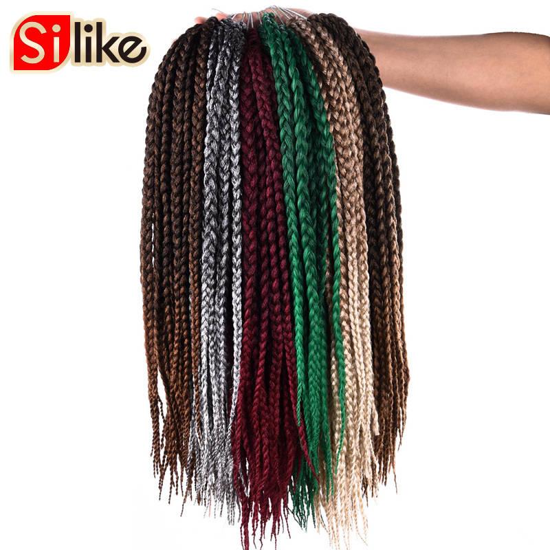 Ombre Synthtic Чорний Зелений 18-дюймовий Micro Crochet BOX Коси Нарощування волосся 24 Коріння волосся Плетення для чорношкірих жінок Silike