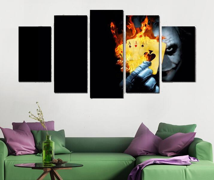 5 панелей стены Книги по искусству Декор, живопись Джокер кочергой плакат Книги по искусству печати плакат современные отпечатанную Книги п...