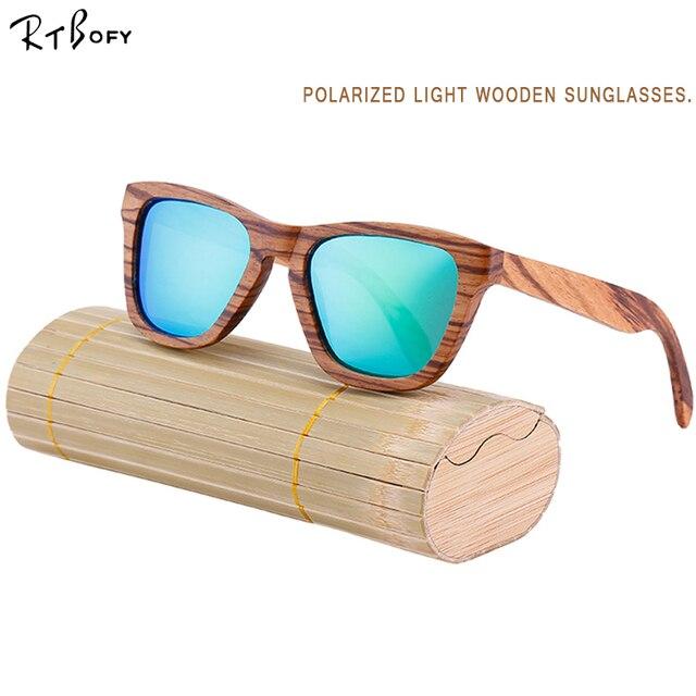 8d577f645 RTBOFY New Polarized Men's Brand Mirror Eyewear Wooden Sun Glasses Women Men  Brand Wood Sunglasses for