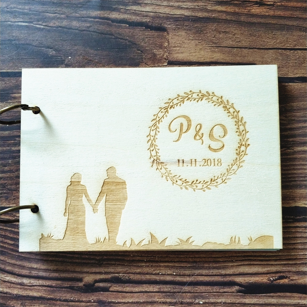 Wooden Wedding Album: Personalized Custom Bride And Groom Guest Book Album Wood