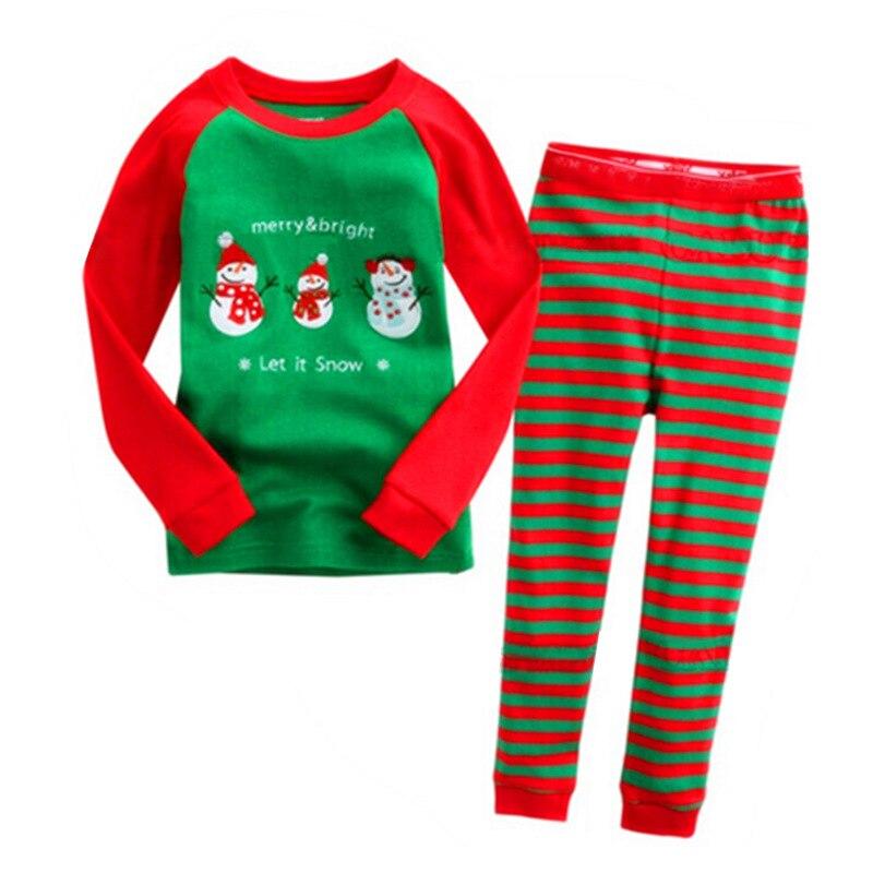 Christmas Girls Boys Kids Deer /Snow Man/Santa Claus Print Long Sleeve T-shirt +Striped Pants 2pcs Clothing Set Tracksuit S2494