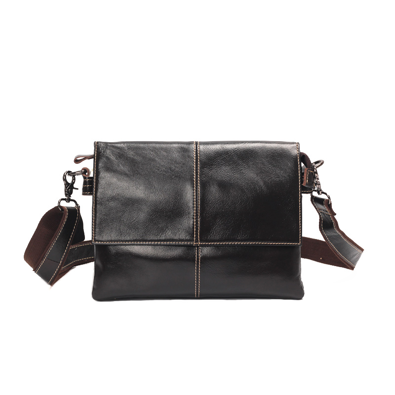 Casual Oil Wax Genuine Leather Men Shoulder Bag Boy Messenger Small Crossbody Bags Hand Bag Vintage Male Cover Thread Flap vintage simple style genuine leather messenger bag men s hand made shoulder bag casual