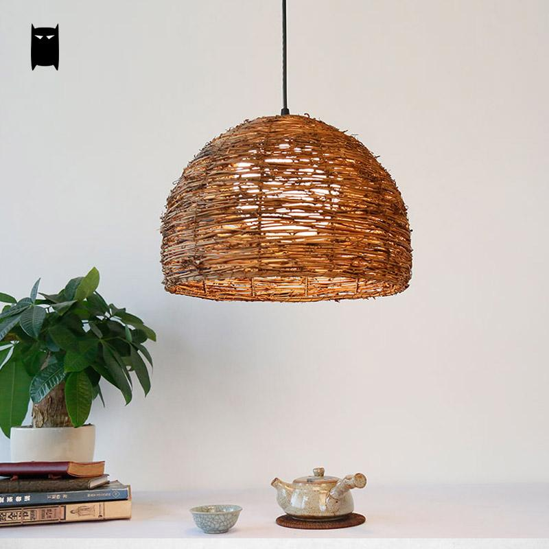 Round Wicker Rattan Lantern Lampshade Pendant Light Fixture Rustic Country Vintage Retro Home Deco Hang Lamp Decoration Maison rattan wicker pendant lights kitchen restaurant vintage bird cage lampshade classical chinese light modern design decoration