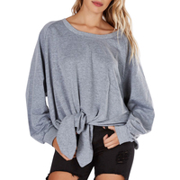 Women Casual Pullover Hoodie Girl Loose Bowknot Autumn Top Sport Jumper