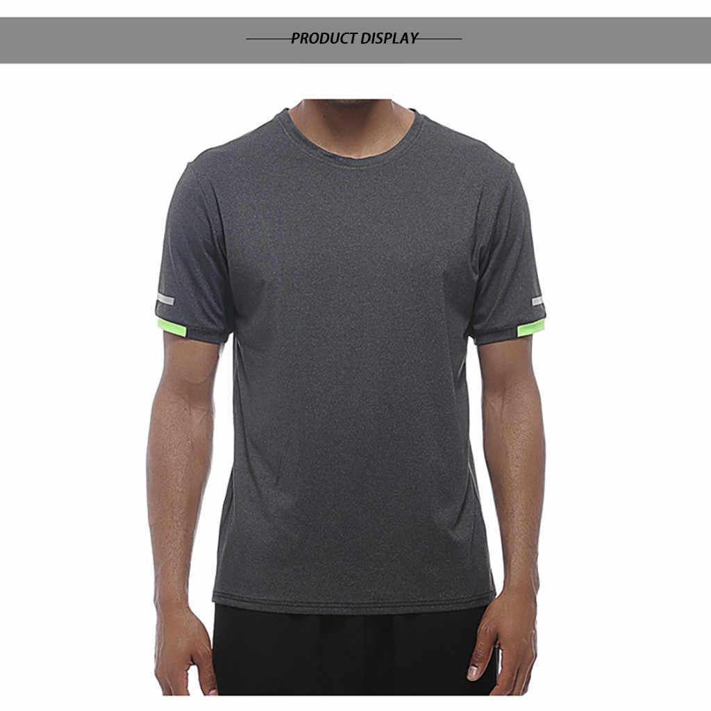 Los hombres de manga corta Fitness culturismo camiseta de entrenamiento de los hombres medias de camuflaje deporte Casual camiseta Casual Tops