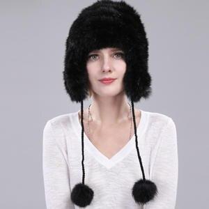 7121001f87f Rabbit Fur Hat Women Winter hat with ear flap