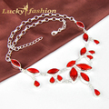 Fashion New Arrive Hot Sale Xmas Jewelry Fire Red Garnet Crystal Necklaces For Lady Silver Chain Necklace
