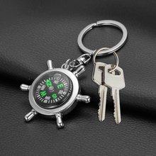 Nova Criativa DesignPortable Liga de Prata Leme Náutico Compass Keychain  Chaveiro Cadeia Presente Caminhadas Acessórios de Naveg. be6ac43241
