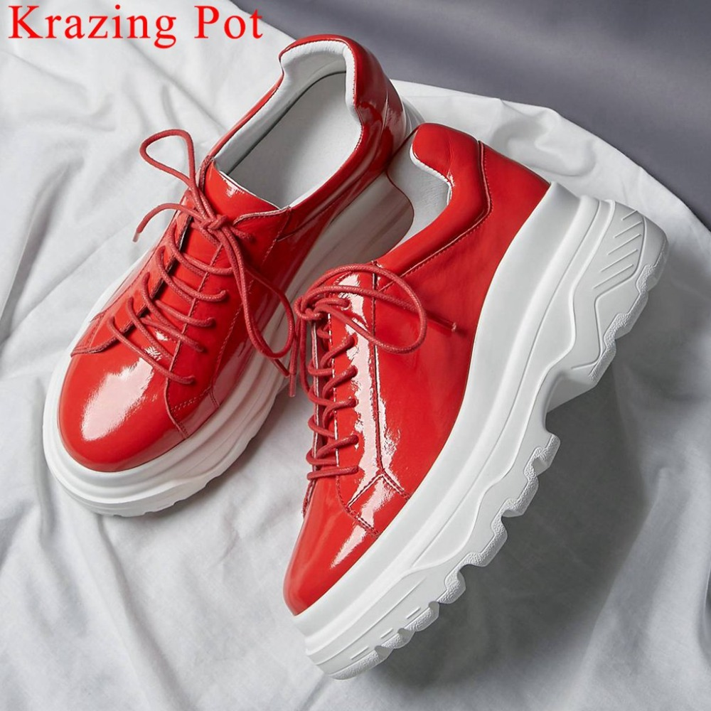 Krazing Pot handmade genuine leather thick bottom platform round toe sneakers handsome girls lace up daily