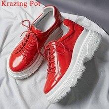 Krazing Pot handmade prawdziwej skóry grube dno platformy okrągłe toe trampki przystojne dziewczyny zasznurować codzienne buty wulkanizowane L10