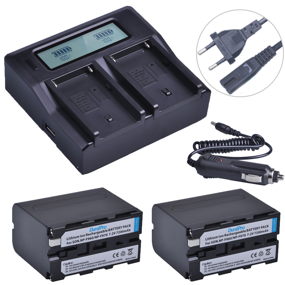 2 pc pour Sony 7200 mah NP-F970 NP-F960 NP F970 F960 Caméra Batterie + LCD Chargeur Rapide pour SONY HVR-HD1000 HVR-HD1000E HVR-V1J